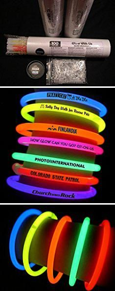 """Wholesale Candy Suppliers. Glow Sticks Bulk Wholesale Bracelets, 100 8"""" Glow Stick Glow Bracelets, Assorted Bright Colors, Glow 8-12 Hrs, 100 Connectors Included, Glow Party Favors Supplies, Sturdy Packaging, GlowWithUs Brand.  #wholesale #candy #suppliers #wholesalecandy #candysuppliers"""