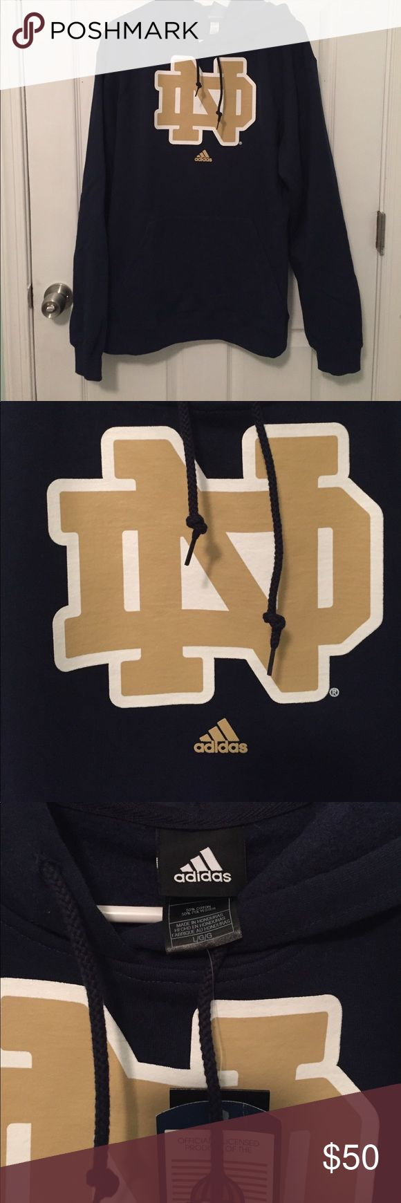 ADIDAS Notre Dame Hoodie Adidas Hoodie purchased at the University of Notre Dame bookstore!!! NWT! Super soft on the inside and is a good weight for a chilly summer night or even in the fall or winter! Great quality Hoodie! Traditional Notre Dame navy and gold! Adidas Shirts Sweatshirts & Hoodies