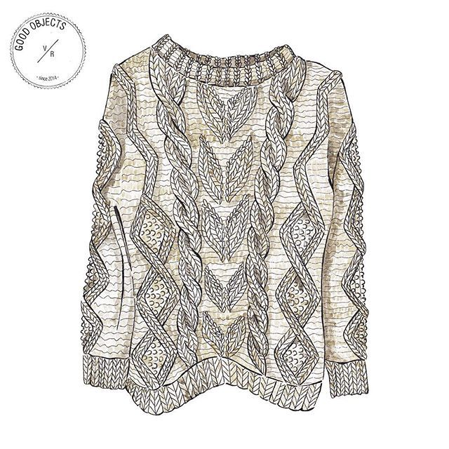Good objects - Happy cozy friday, with this knitted sweater by @donbaez_ecochic 100% undyed merino wool #goodobjects #madeinuruguay #illustration