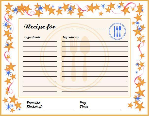 free editable recipe card templates for microsoft word