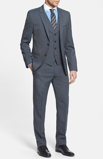 $1,045, Charcoal Three Piece Suit: Arantwonhixby Extra Trim Fit Three Piece Suit Charcoal 42r by Hugo. Sold by Nordstrom. Click for more info: http://lookastic.com/men/shop_items/84713/redirect