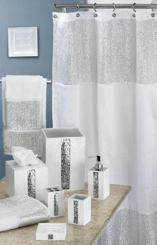 Caprice White Shower Curtain w/ Sequins, super cute for Hay's new downstairs bathroom!