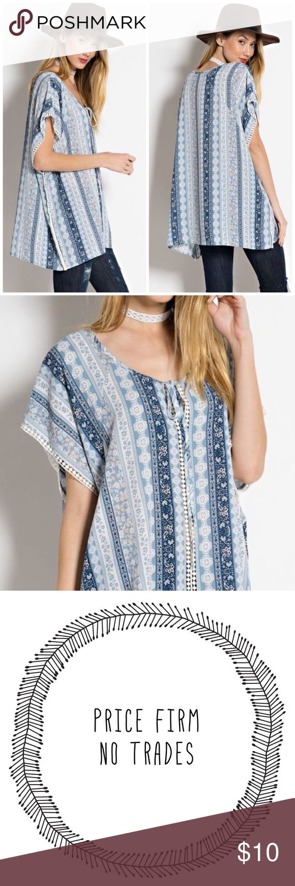 "✳️SALE✳️Blue and White Tunic Top Ocean Blue Country Tunic   Beautiful prints of blue and white tunic top with crochet details running down in the middle. Front tie at the neckline. Made of Poly/ spandex blend. NWOT retail   Measurements  Small Bust 40""/ length 29""  Medium  Bust 42""/ length 29.5""  Large  Bust 44""/ Length 30""  Reasonable offers considered through offer button only Tops Tunics"