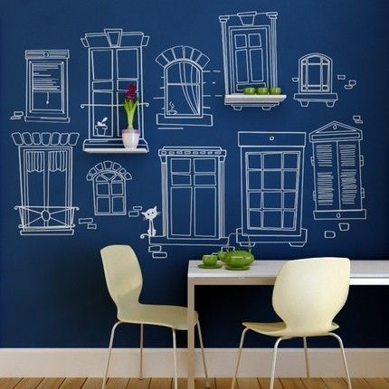 Design: architectural drawings on chalkboard walls.I think this is a normal painted  wall,but it would be cool with chalk board paint and the window drawings