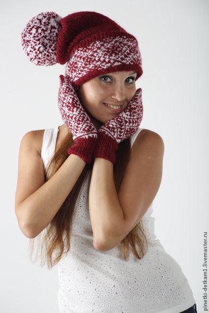 Комплект Шапка и Варежки. Самоцветы Красные - ярко-красный,рисунок,шапка вязаная