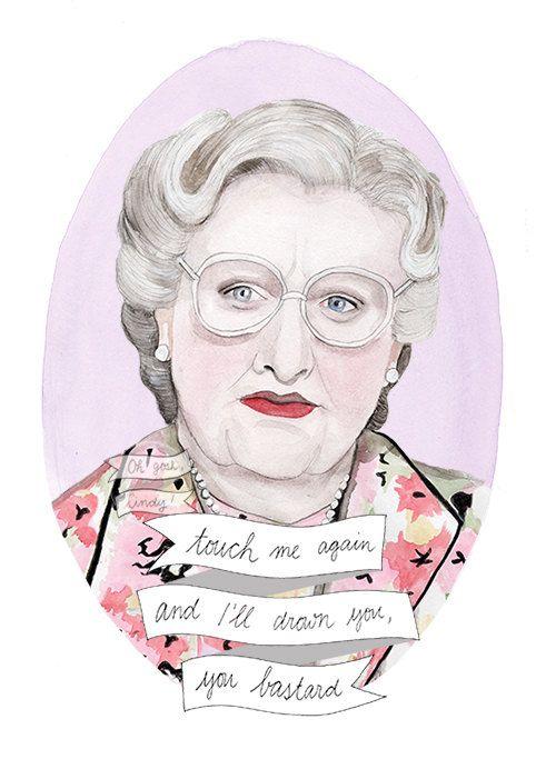 Mrs Doubtfire Aquarell Print / Oh gosh cindy https://www.etsy.com/de/listing/201426581/mrs-doubtfire-aquarell-portrait