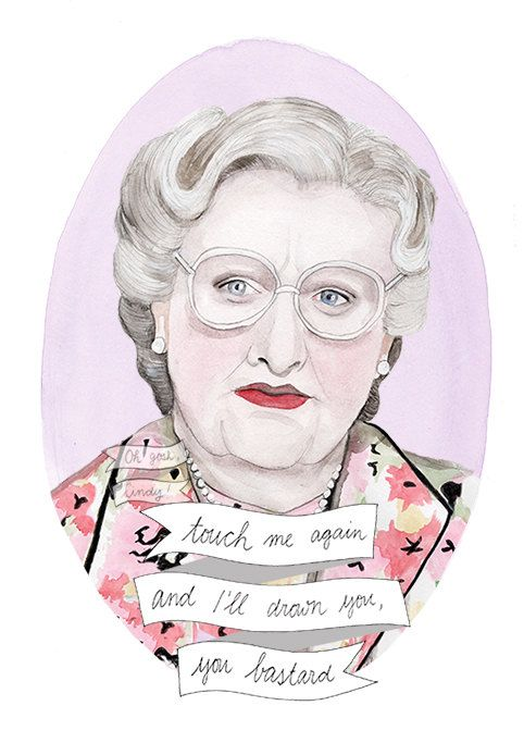 Mrs Doubtfire watercolour portrait illustration PRINT