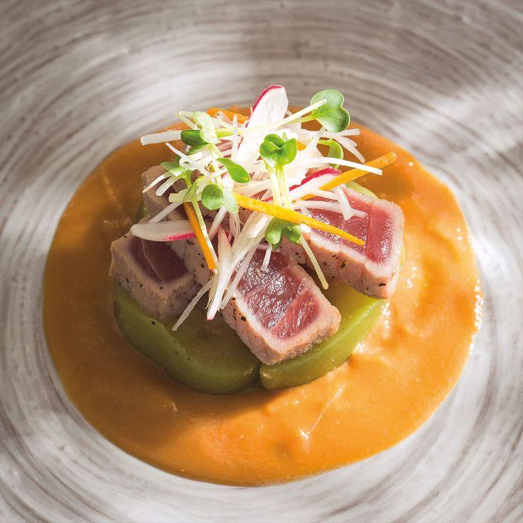 Salade de thon rouge & aubergine marinée sauce miso vinaigrée par Masami Akaogi