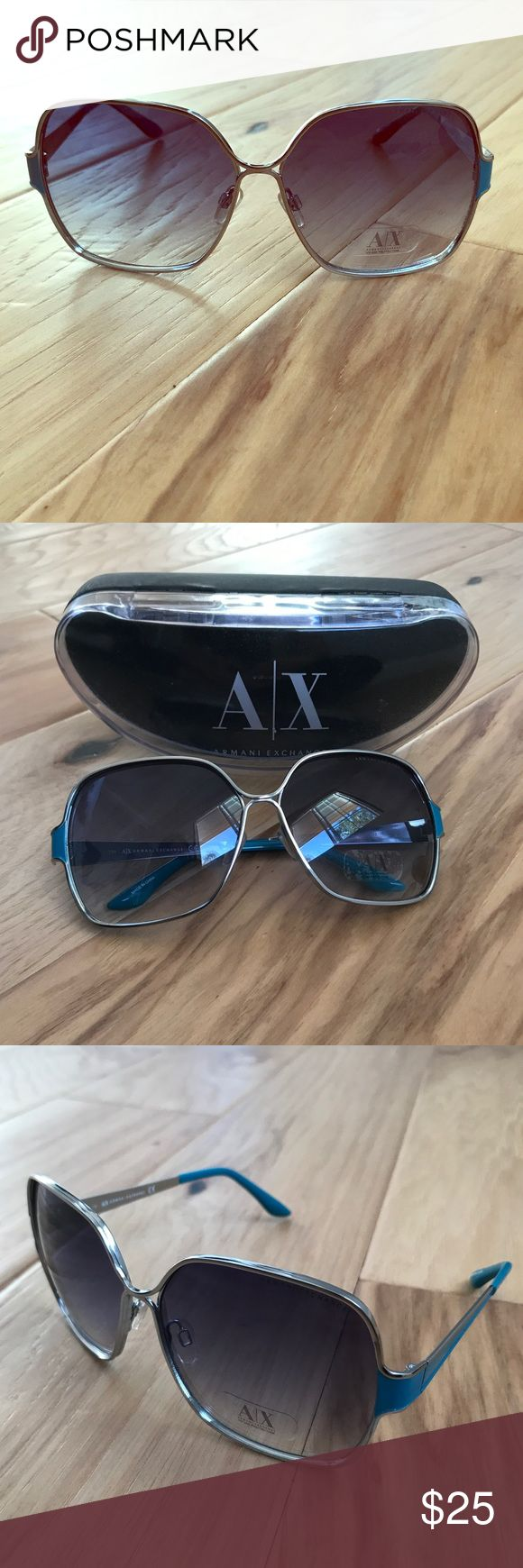 Authentic Armani Exchange square sunglasses Authentic Armani Exchange women's square sunglasses. Turquoise blue accents on the sides of frames. Retro style. Adds a great pop of color to an outfit and character. Comes with original case. Great condition- no marks or scratches. Armani Exchange Accessories Sunglasses