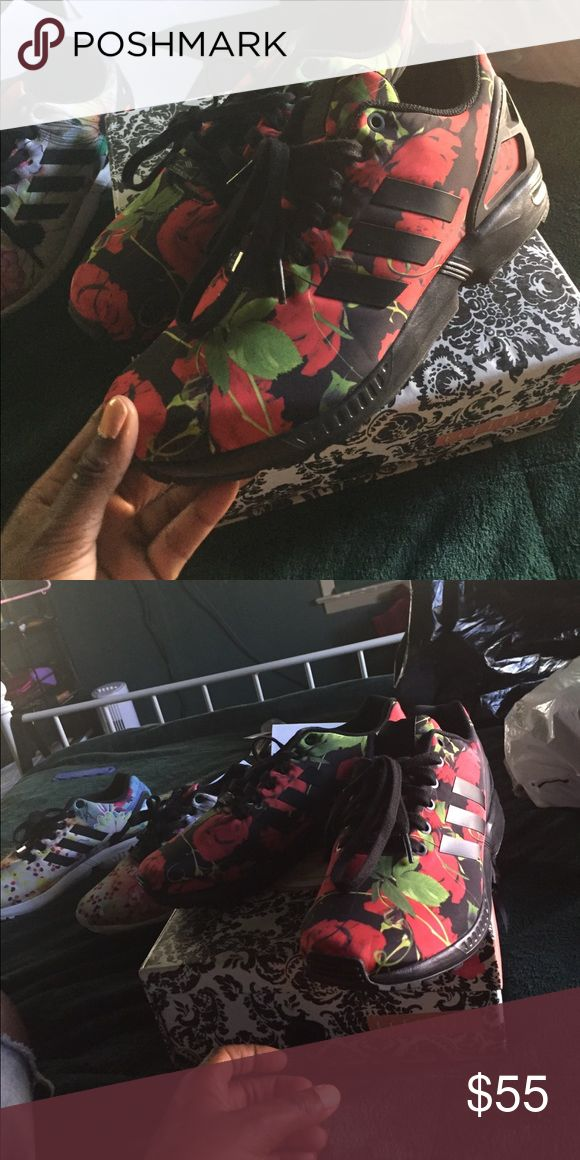 ADIDAS Zx flux Rose never worn brand new no tags Adidas rose patterned sneakers , never worn ever . 9 1/2 too big for me adidas Shoes Sneakers