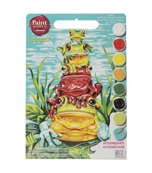 """Dimensions 9""""x12"""" Learn To Paint! Paint By Number Kit - Frog Pile - Up"""