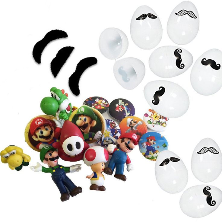 12 Mustache Easter Eggs & Super Mario Toy fillers: Figures, Rings, Mustaches, Tattoos, Stickers, Keychains, etc.