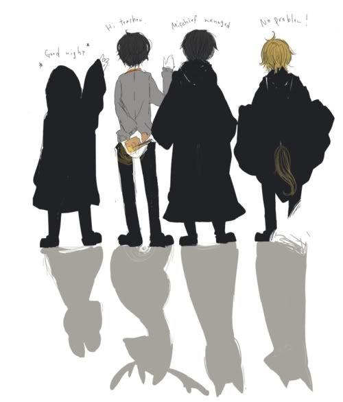 Os Marotos: Pedro Petegrew, Thiago Potter, Sirius Black e Remo Lupin.