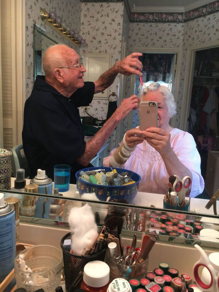 Grandma Had Surgery On Her Wrist And Couldn't Do Her Own Hair So My Grandpa Did It For Her