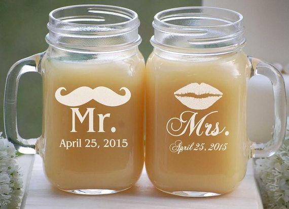 Mason Jar Wedding Favors  Etched Mason Jars by UrbanFarmhouseTampa
