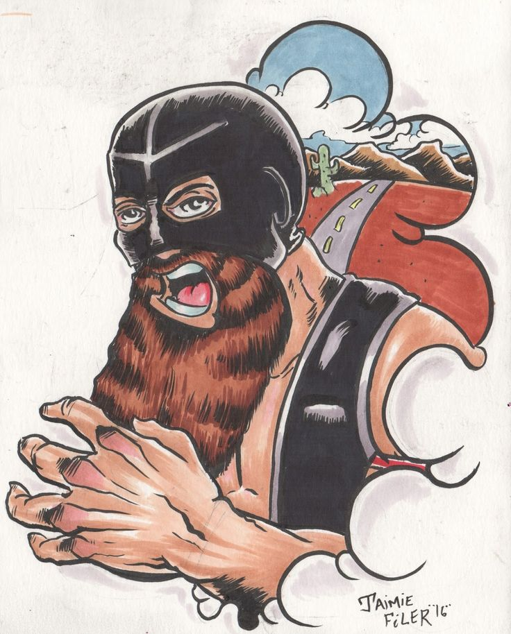Lucha undergrounds Matt Cross/ Son of Havoc Copic marker sketch by Jaimie Filer. artofdoom.blogspot.com