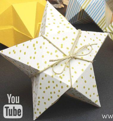 Easy DIY paper Christmas star gift box (free printable template) // Egyszerű karácsonyi csillag ajándékdoboz papírból (nyomtatható sablonnal) // Mindy - craft tutorial collection // #crafts #DIY #craftTutorial #tutorial