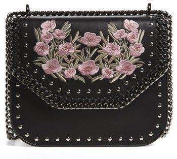 Stella McCartney Medium Falabella Box Floral Shoulder Bag - Black