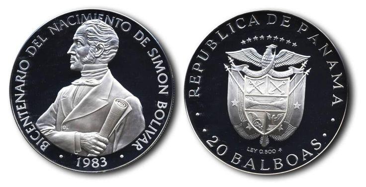 El Libertador en las Monedas del Mundo Bicentenario del Nacimiento de Simón Bolívar Panamá, 20 Balboas, 1983 pic.twitter.com/yr2AaWbOEB
