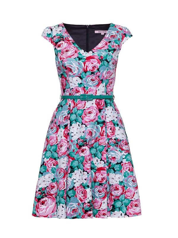 Hydrangea Rose Dress from Review... Too much pink? Not enough green? ... I like the cut...