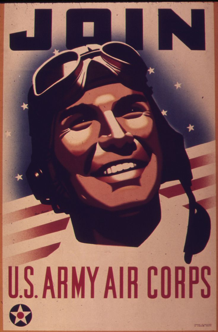 Illustration of a smiling man wearing a pilot's cap, with a caption reading: Join U.S. Army Air Corps.