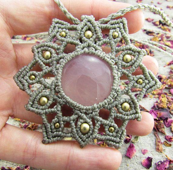 Rose quartz macrame mandala necklace - hippie wedding jewellery maid of honour gifts vegan jewelry meditation space boho necklace festival