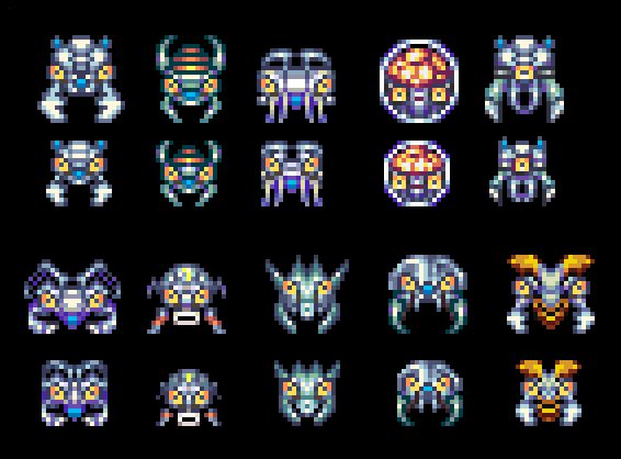 Pixelart Invaders for a shotter game. You can download and use it for free. License CC0. If you need more free game assets for your personal/commercial games check this: kronbits.itch.io/matriax-fr...