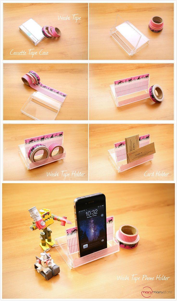 Niet ván je telefoon, maar wel vóór je telefoon: een telefoonstandaard gemaakt van het hoesje van je oude cassettebandje