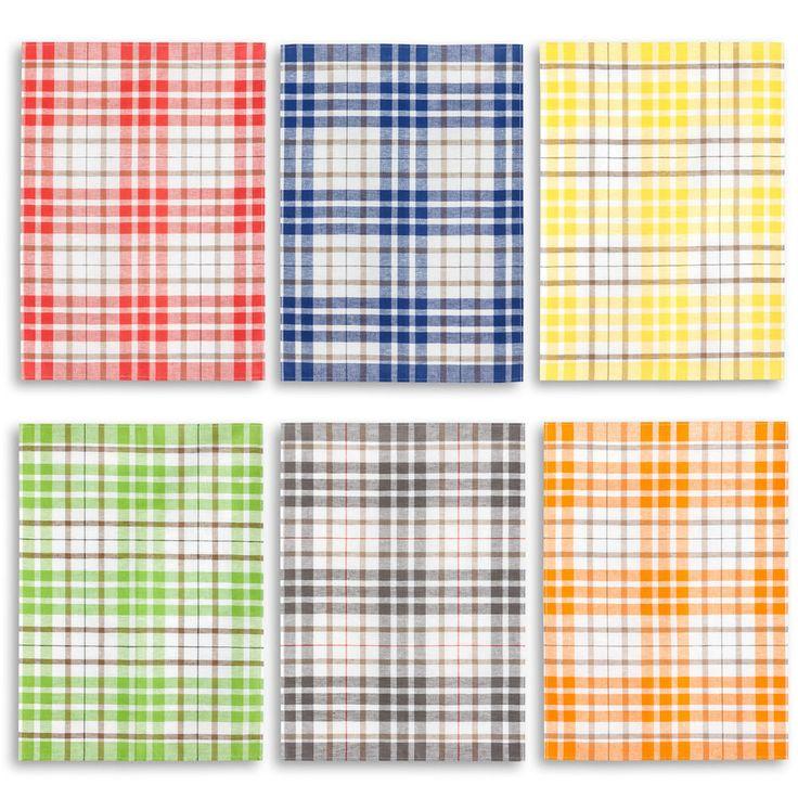3er-Set Kracht Geschirrtuch Halbleinen, Karo, 50x70, 6 trendige Farben
