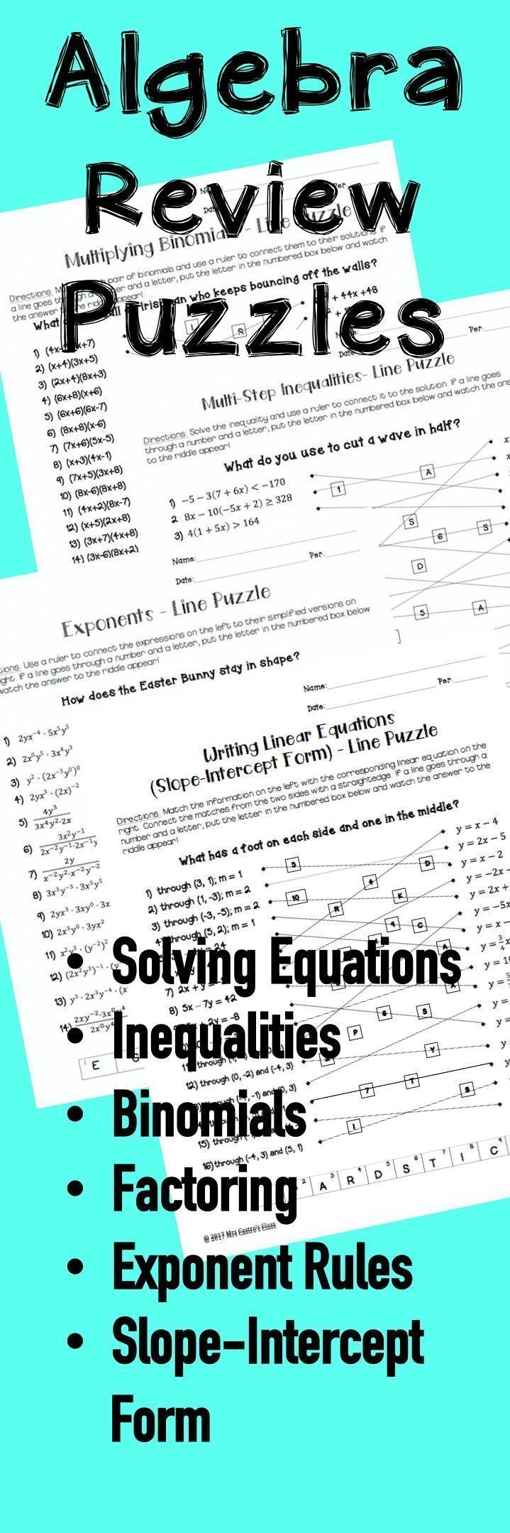 Algebra review puzzle worksheets. Order of operations