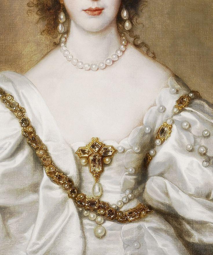 Queen Henrietta Maria, Detail. (1638) by Anton van Dyck (1599 – 1641)
