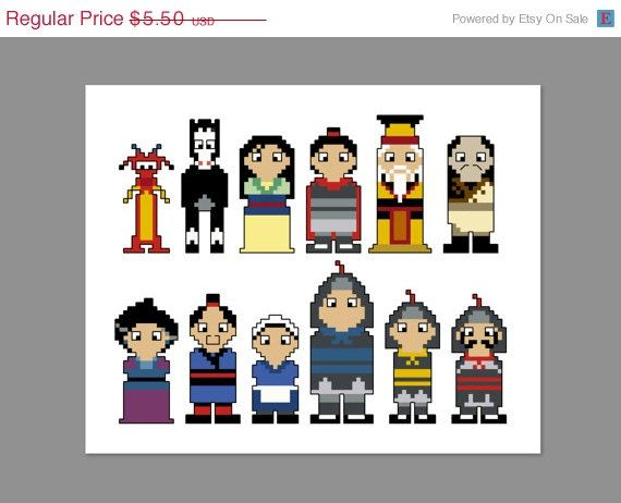 Christmas In July 20% Off Mulan Pixel People Character Cross Stitch PDF PATTERN ONLY