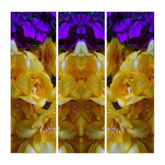 Floral Triptych Wall Art by www.zazzle.com/htgraphicdesigner* #zazzle #art #flower #yellow #gift #giftidea #purple #triptych #wallart