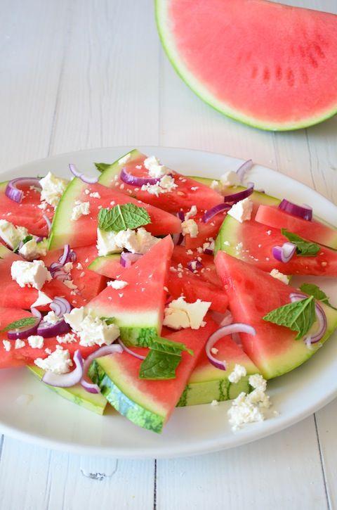 BBQ Tip: Frisse Watermelon Feta Salad - watermelon feta salad w/ balsamic vinegar, black peppercorns, onions chopped, either mint or basil- healthy food