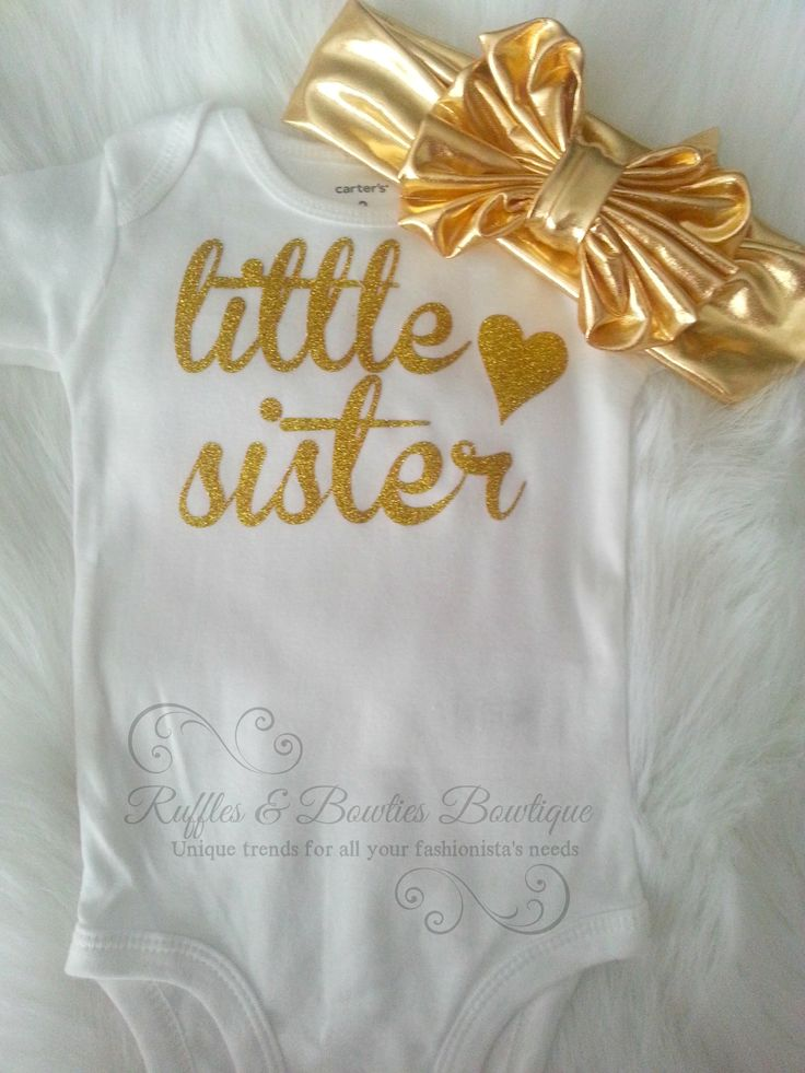 Little Sister Gold Glitter Onesie