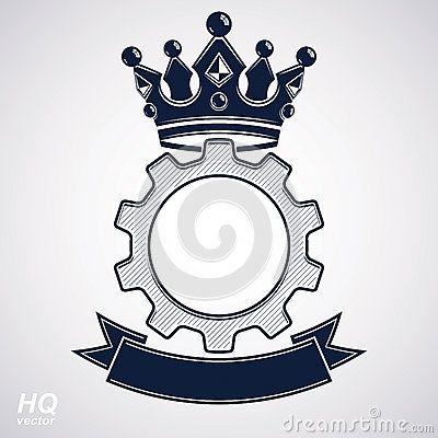 Vector el elemento del diseño industrial, la rueda del diente con una corona y b