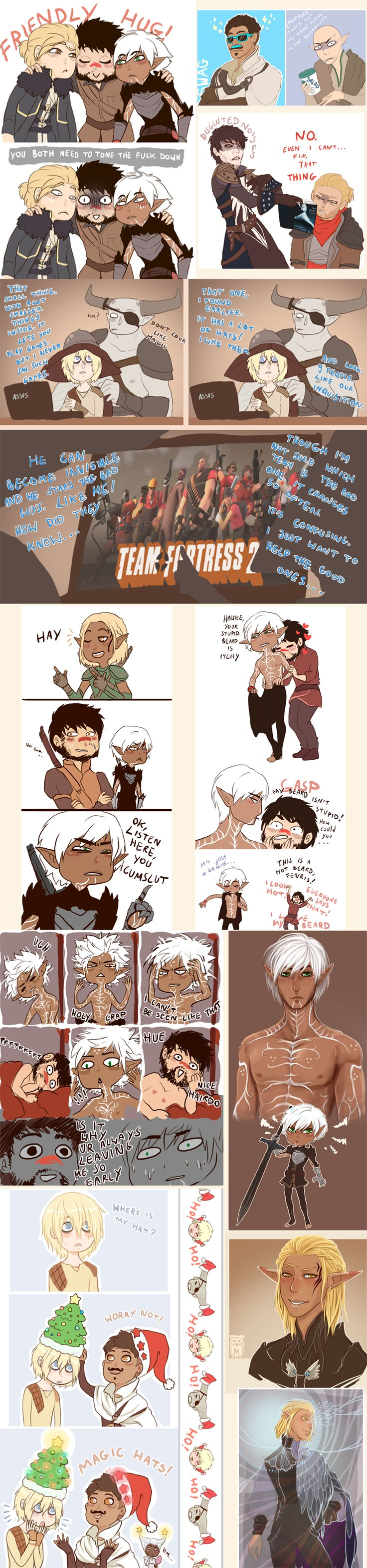 Dragon Age doodle dump by BlackMayo on DeviantArt (Personal comment -- I just love doodle dump. They always make me smile ^-^)