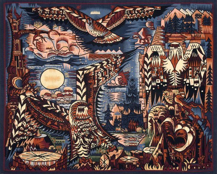 Très rare tapisserie de basse lisse d'Aubusson Les oiseaux de proie Tissée par l'atelier Suzanne Goubely, d'après un carton de 1941 de Marcel Gromaire (1892- 1971). Bolduc d'authenticité signé par son… - Oger - Blanchet - 01/07/2016