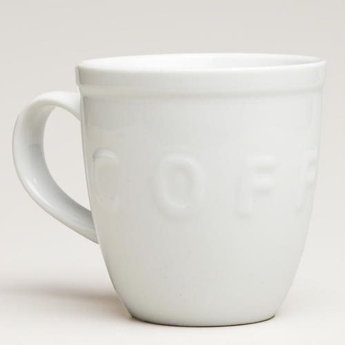 One of my favorite discoveries at WorldMarket.com: White Embossed Coffee Mugs, set of 2, also for the coffee bar.