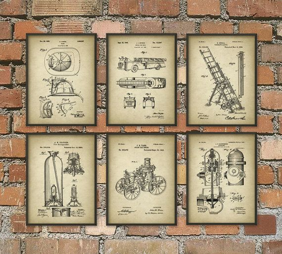 Firefighting Patent Prints Set Of 6 Firefighter by QuantumPrints