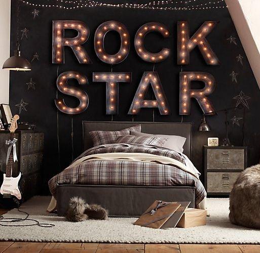 #teen room #decoration #kids room #rock star #vintage room