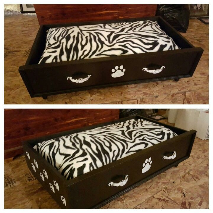 $100 Large wood drawer dog bed with fleece pillow case, velcro for easy removal for washing.