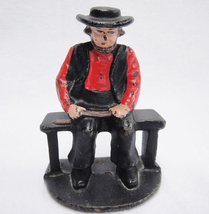 Vintage Cast Iron Amish Man Seated on Bench Figurine Bookend 4.5""