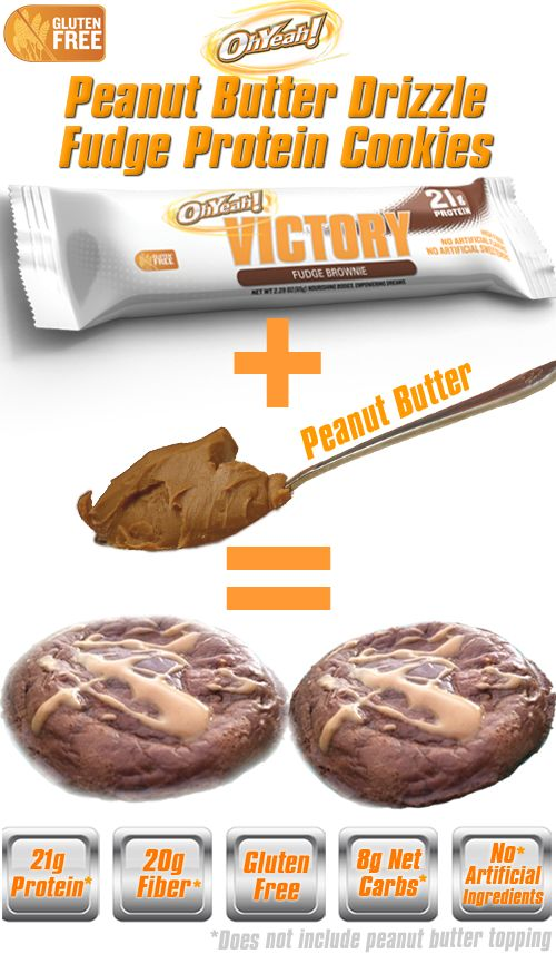 OhYeah! Victory bar Peanut Butter Drizzle Fudge Protein Cookies! 1 ...