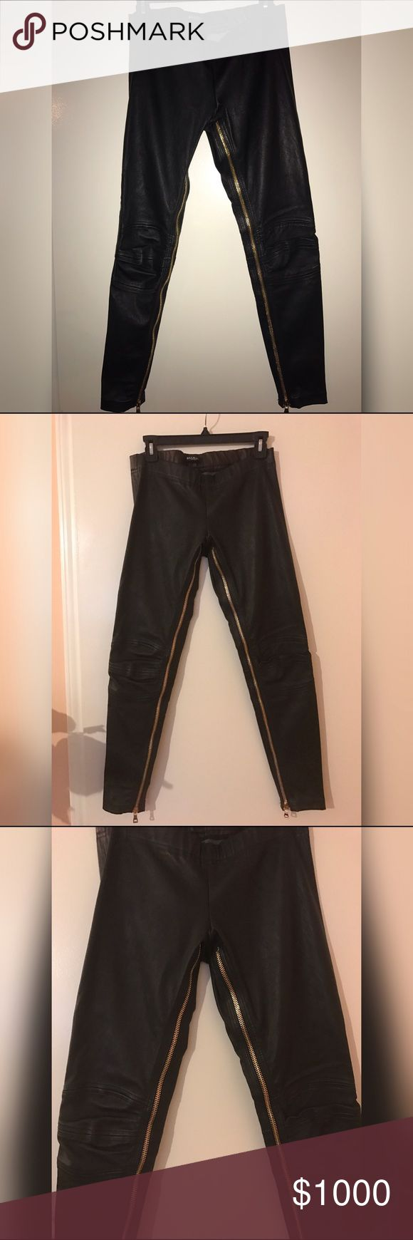 BALMAIN Zipper Leggings Fr 38 (S) The leather leggings feature gold metal zippers running on the inside of both legs. Size Fr 38  Small Balmain Pants Leggings