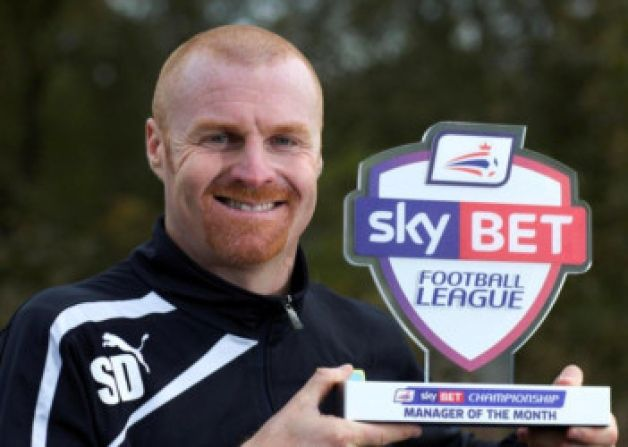 Burnley manager Sean Dyche has been named the Sky Bet Championship Manager of the Month for October.