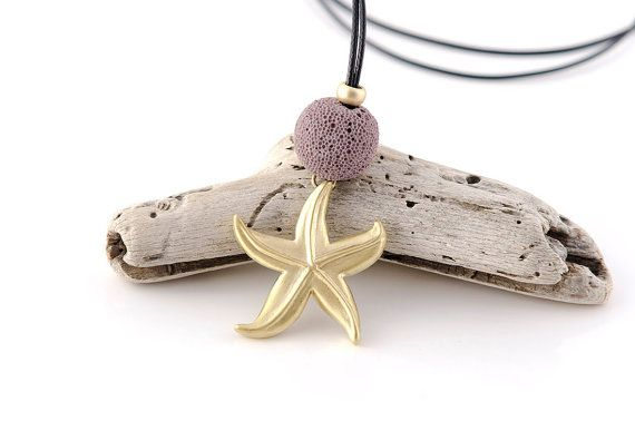 Starfish Necklace, Beach Jewelry, Handmade Starfish, Summer Jewelry, Starfish Jewelry, Volcano Stones, Gifts for her
