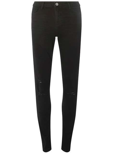 **Tall Black Ripped Knee 'Darcy' Ankle Grazer Jeans