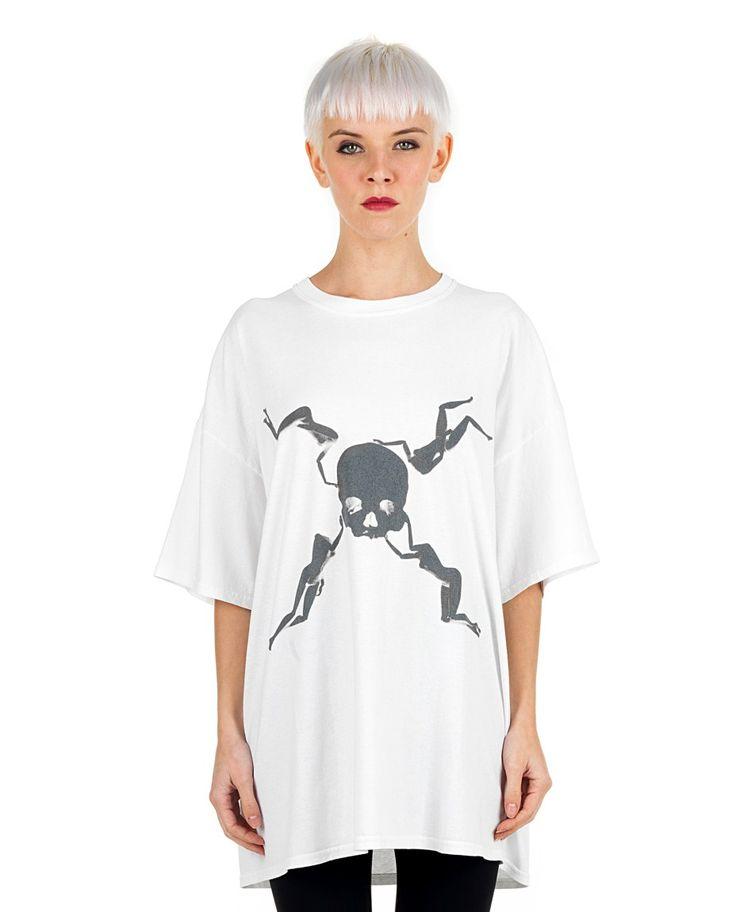 SIL White oversize T-shirt  Pirates/Inverted print round neckline short sleeves back logo decoration 100% CO