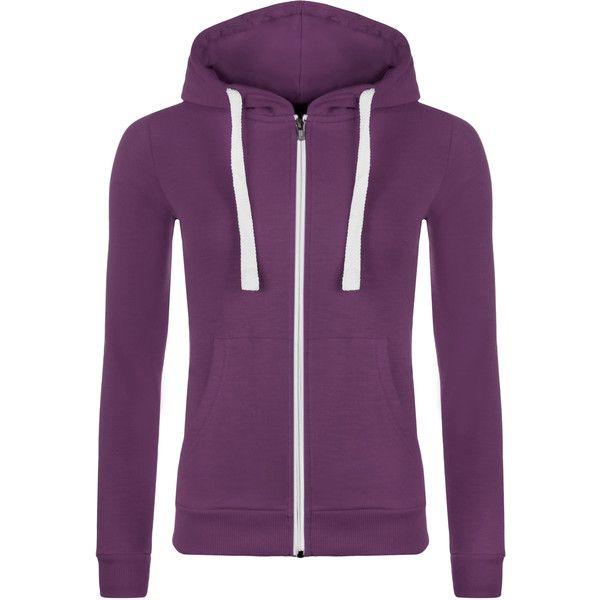 WearAll Zip up Hooded Top ($9.00) ❤ liked on Polyvore featuring tops, hoodies, purple, purple hoodies, zip up top, zip hoodies, hooded top and long sleeve tops